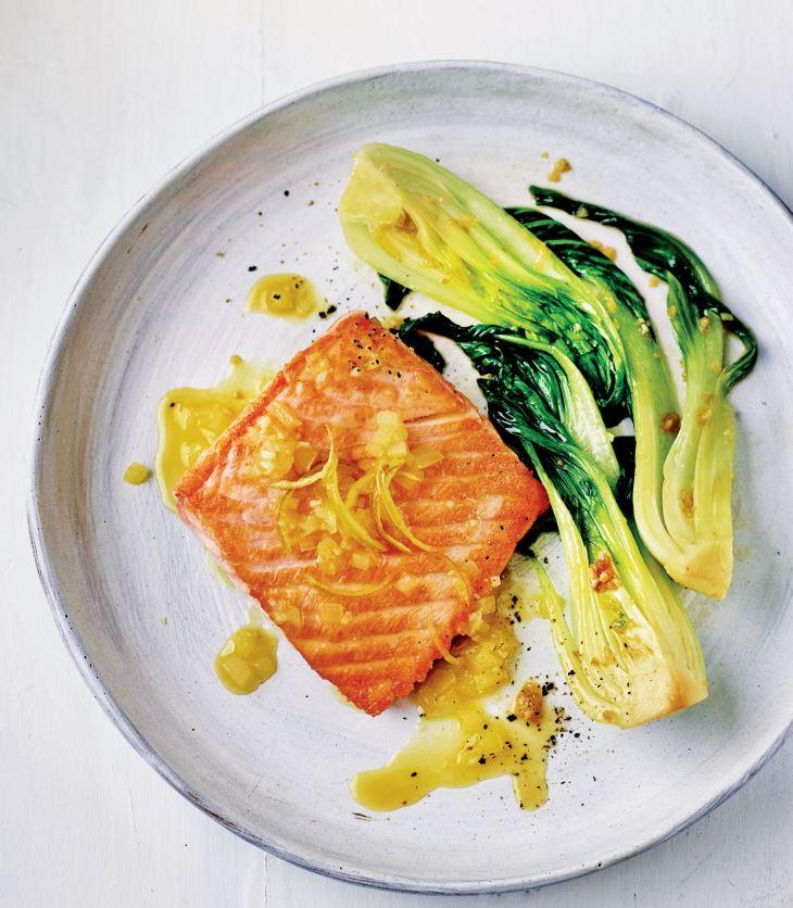 Dale Pinnock's Citrus Salmon with Garlicky Pak Choi
