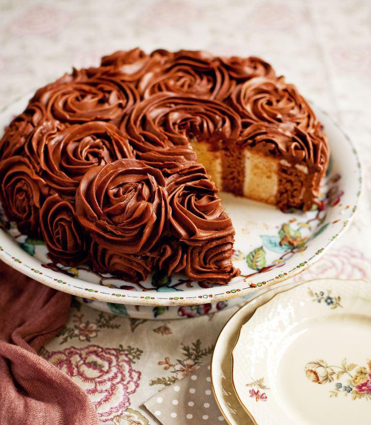 Fiona Cairns' Coconut & Chocolate Stripy Cake